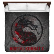 Mortal Kombat X Stone Logo King Duvet Cover White 104X88