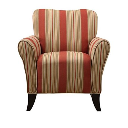Portfolio Seth Red Stripe Curved Back Upholstered Comfortable Living Room Dec