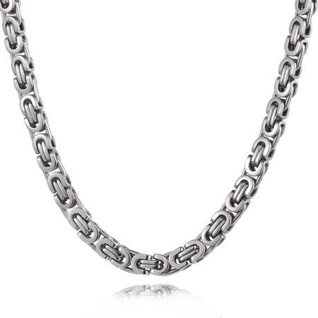 Hermah 6mm Mens Flat Byzantine Link Necklace Stainless Steel Chain 22-24inch