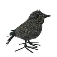 Gray Sisal Raven Halloween Decorative