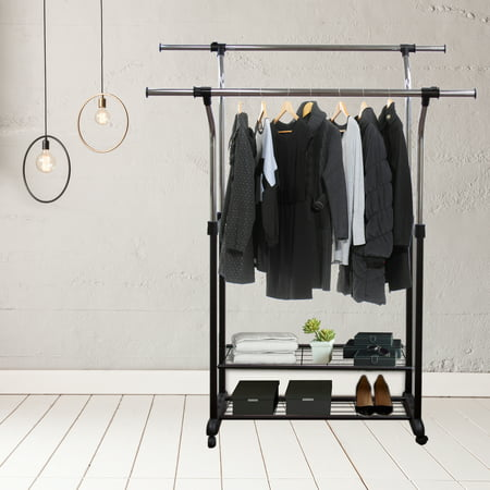 Mobile Double Rail Clothes Rack With Utility Shelves