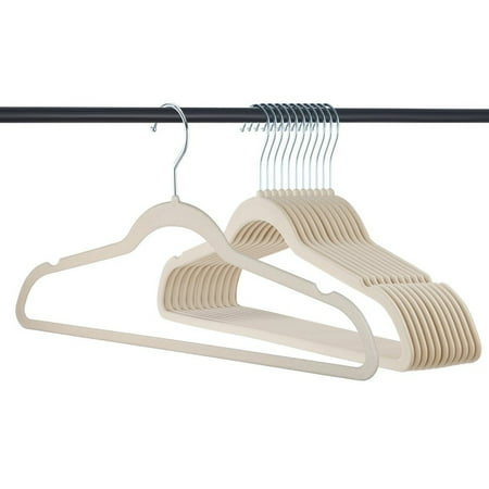 50 Pack Clothes Hangers, Velvet Hangers, Ivory Clothes Hanger, Ultra Thin, No Slip - 50 Clothing