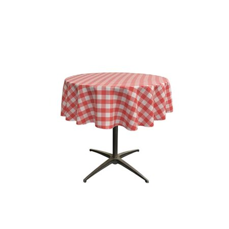 LA Linen TCcheck51R-CoralK55 Polyester Gingham Checkered Tablecloth, White & Coral - 51 in. Round - image 1 of 1