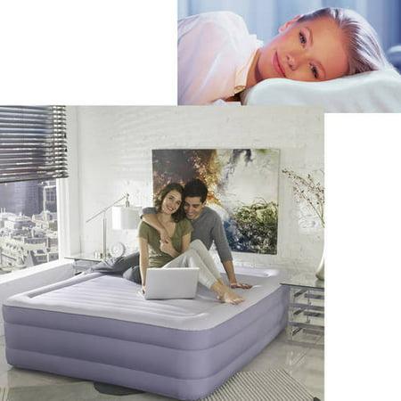 Simmons Beautyrest Queen Raised Airbed Mattress with Memory Foam Pillow Bundle (Air Mattress Queen Memory Foam)
