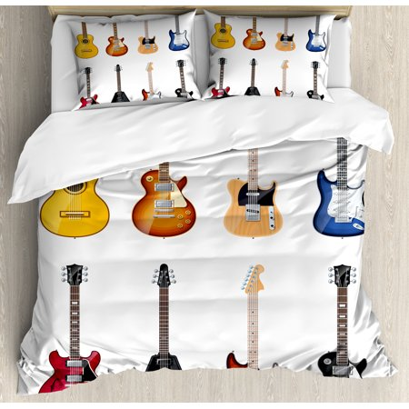 Guitar King Size Duvet Cover Set, A Wide Variety of String Instruments Realistic Musical Pattern Jazz Blues Acoustic, Decorative 3 Piece Bedding Set with 2 Pillow Shams, Multicolor, by Ambesonne (Gibson Acoustic Blues King)