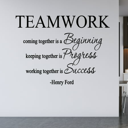 - VWAQ Teamwork Coming Together Is A Beginning, Henry Ford Quote Vinyl Decal Home And Office Wall Decor -18097