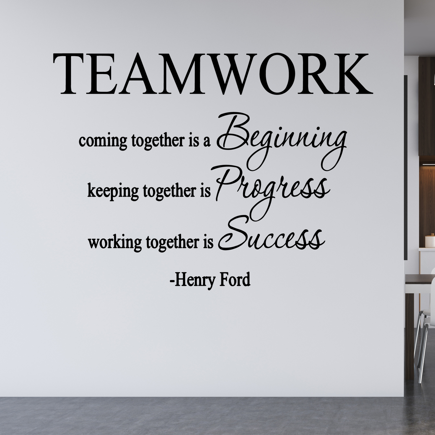 VWAQ Teamwork Coming Together Is A Beginning, Henry Ford Quote Vinyl Decal Home And Office Wall Decor -18097