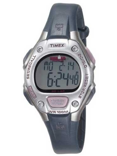 Timex T5K411 Womenu0027s Ironman 30 Lap Triathlon Indiglo Night Light Digital  Silver Dial Grey