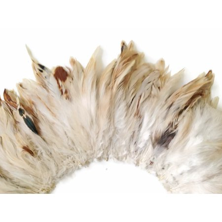 - 4 Inch Strip - Natural Beige Strung Rooster Schlappen Feathers