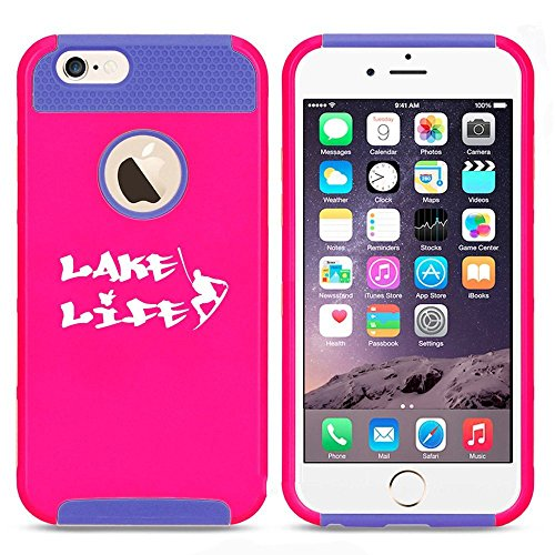 Apple iPhone SE Shockproof Impact Hard Soft Case Cover Lake Life Wakeboard Wakesurf (Hot Pink-Blue),MIP