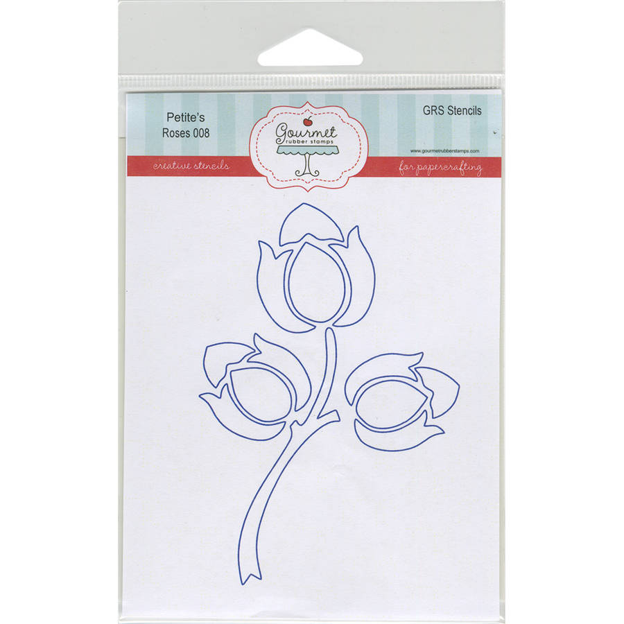 """Gourmet Rubber Stamps Petite Stencils, 4.25"""" x 6.5"""", Roses"""
