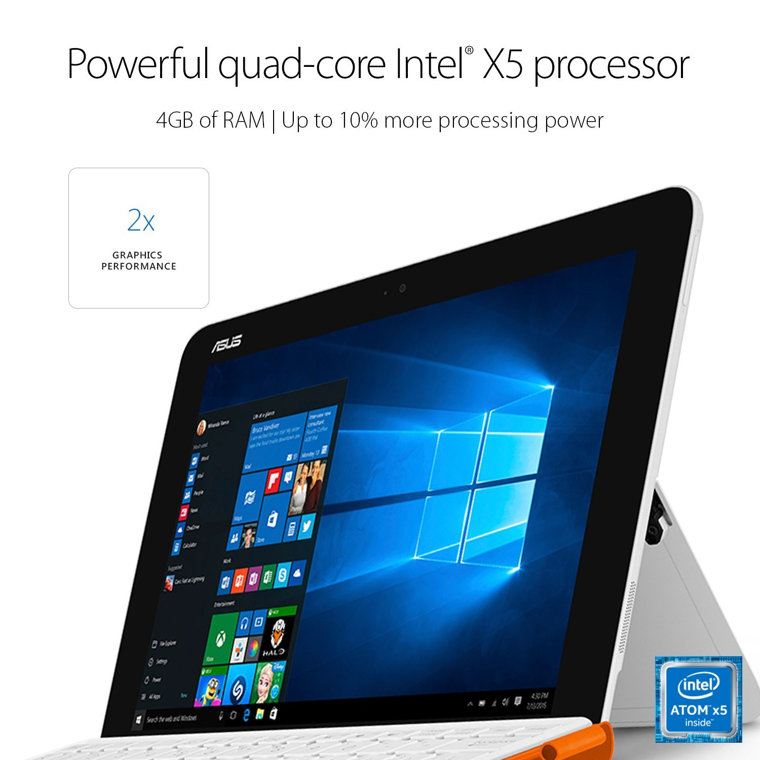 "ASUS T102HA-C4-WH Transformer Book 10.1"" 2 in 1 Touchscreen Laptop, Intel Quad-Core, White, pen and keyboard included"