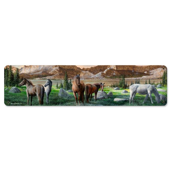 8 x 24 in. Horse Pack Satin Metal Sign - image 1 de 1