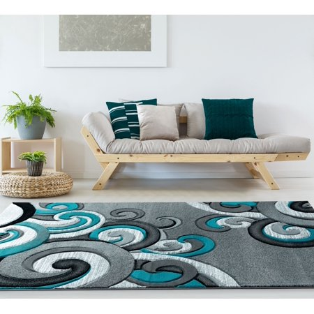United Weavers Drachma Dahlia Contemporary Turquoise Woven Olefin/Polypropylene Area Rug or Runner (Turquoise Stair Carpet)