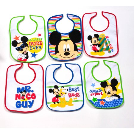 Disney Infant Bibs  Mickey Mouse  6 Count