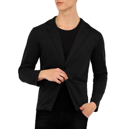 Men's Long Sleeve 1 Button Closure Knitted Casual (Wet Suit Man)