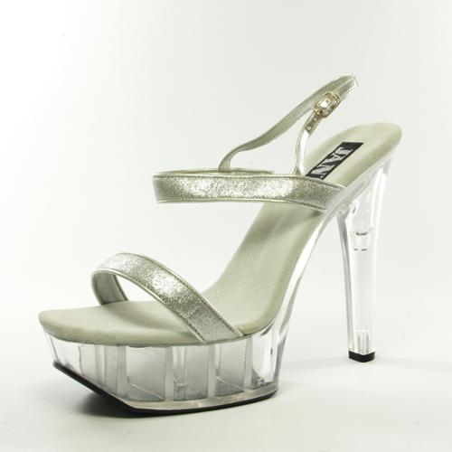 Women's Silver Metallic Platform High Heel Sandal Shoes - Size 11