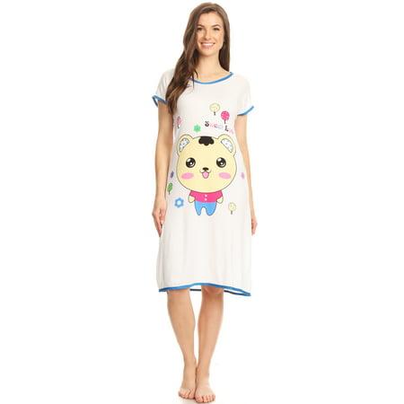 mujer de Pijamas dormir Ropa sin dormir mangas algodón dormir 80 Ropa Xl azul de de Vestido para de de dormir 5020 Camisa fqIAz