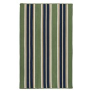 3' x 5' Green and Blue Striped Rectangular Area Throw Rug