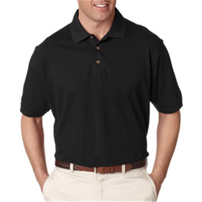 UltraClub 8535 Mens Classic Pique Polo - Black, Large