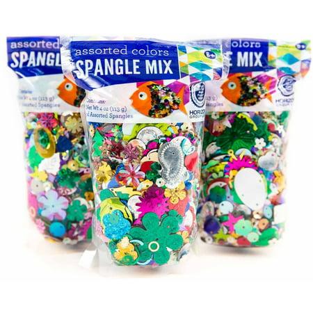 Horizon Group Usa Spangle Mix Assorted Colors   Shapes  3Pk