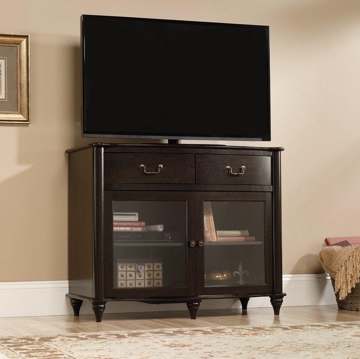 Sauder Furniture 416697  Albany Home Highboy TV Stand Jamocha Dark Wood