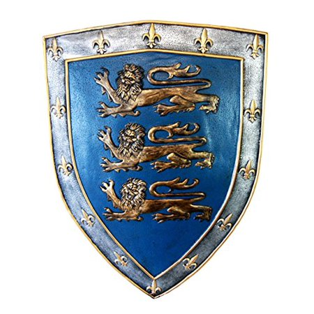Atlantic Collectibles Large Medieval Knight Royal Arms Of England Three Lions Shield Wall Plaque 18