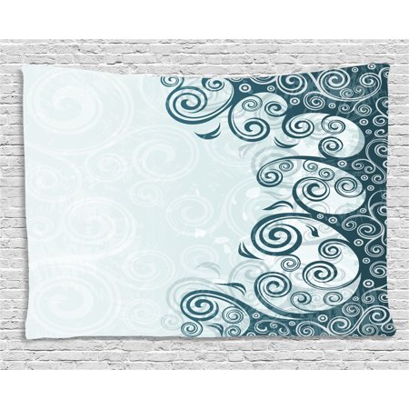 Art Deco Backdrop (Modern Decor Tapestry, Abstract Backdrop with Floral Details Swirls Art Print, Wall Hanging for Bedroom Living Room Dorm Decor, 60W X 40L Inches, White Light Blue and Slate Blue ,)