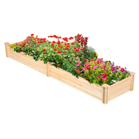 Topeakmart 96'' x 24'' x 10.5'' Wooden Raised Garden Bed Divisible Planter Box for Patio/Yard/Greenhouse Natural Wood