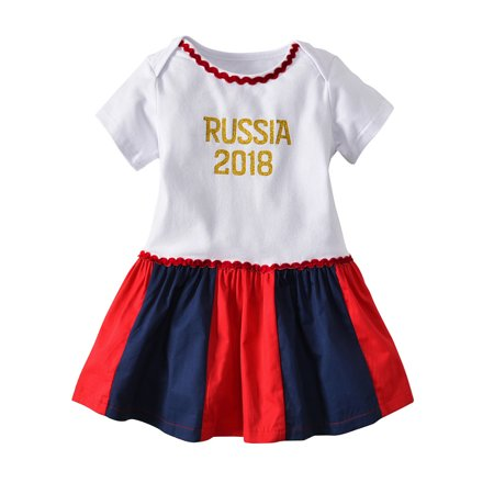 Mosunx Toddler Infant Baby Girl Dress Letter Print Russia Footall Romper Dresses - Traditional Russian Outfit