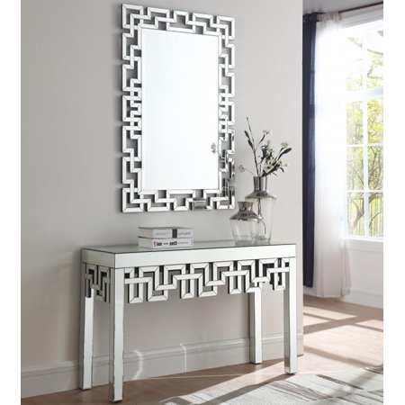 Modern Mirrored Finish Console Table w/Mirror 2 Pcs Meridian Furniture 412 Aria