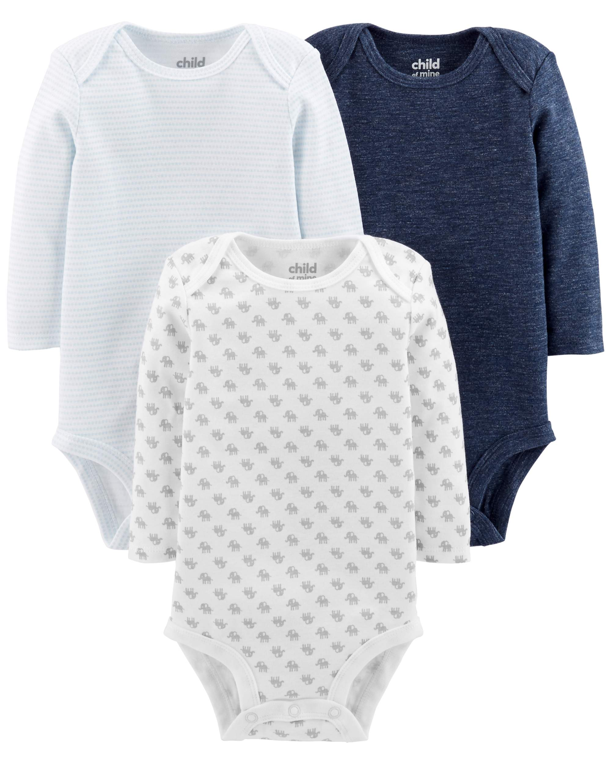 Basic Long Sleeve Bodysuits, 3-pack (Baby Boys) by WILLIAM CARTER COMPA