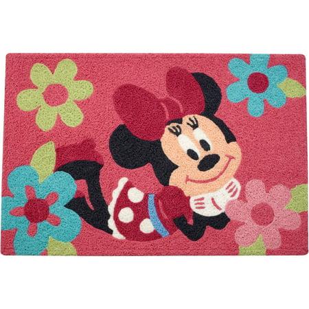 "Disney Minnie Mouse Rectangular Pink Floral Toddler Rug - 20"" x 30"""