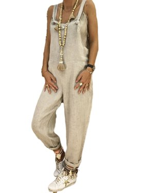 Women Casual Loose Linen Cotton Jumpsuit Dungarees Playsuit Trousers Overalls