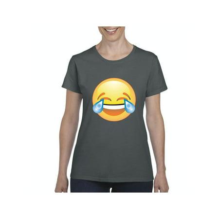 Emoji Laughing Tears Women Shirts T-Shirt Tee (Laughing With Tears Emoji)
