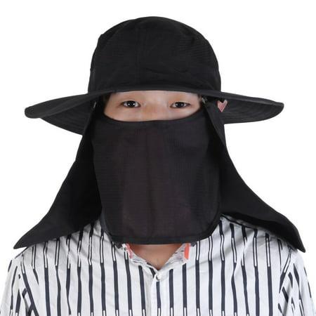 1f64884b904 Summer Outdoor Sport Hiking Man Woman Visor Hat UV Protective Face Neck  Cover Fishing Sun Protect Cap Black - Walmart.com