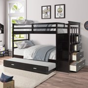 Clearance! 96'' x 42'' x 66'' Solid Wood Twin Bunk Beds, Twin Bunk Bed with Ladder and Safety Rail, Premium Firm Feel Support w/Ladder and Safety Rail, Roll Out Trundle w/4 Drawer, 200lbs, SS102