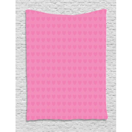 Pink Tapestry, Small Heart Shapes Valentines Day Love and Feelings Concept Pattern for Romantic Couples, Wall Hanging for Bedroom Living Room Dorm Decor, 60W X 80L Inches, Pink, by