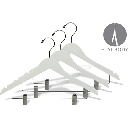 White Wood Combo Hanger w/ Cushion Clips, Box of 25 Space Saving 17 Inch Flat Wooden Hangers w/ Chrome Swivel Hook & Notches for Shirt Jacket or Dress by International Hanger Wood Dress Hanger