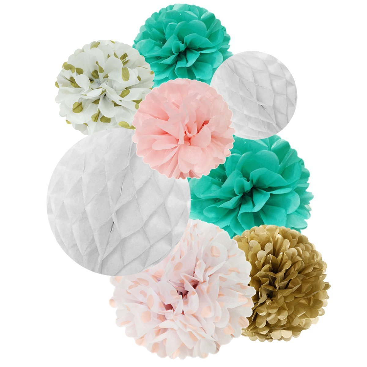 Wrapables® Set of 32 Tissue Honeycomb Ball and Pom Pom Party Decorations for Weddings, Birthday Parties Baby Showers and Nursery Décor, Aqua/ Light Pink/ Gold/ White