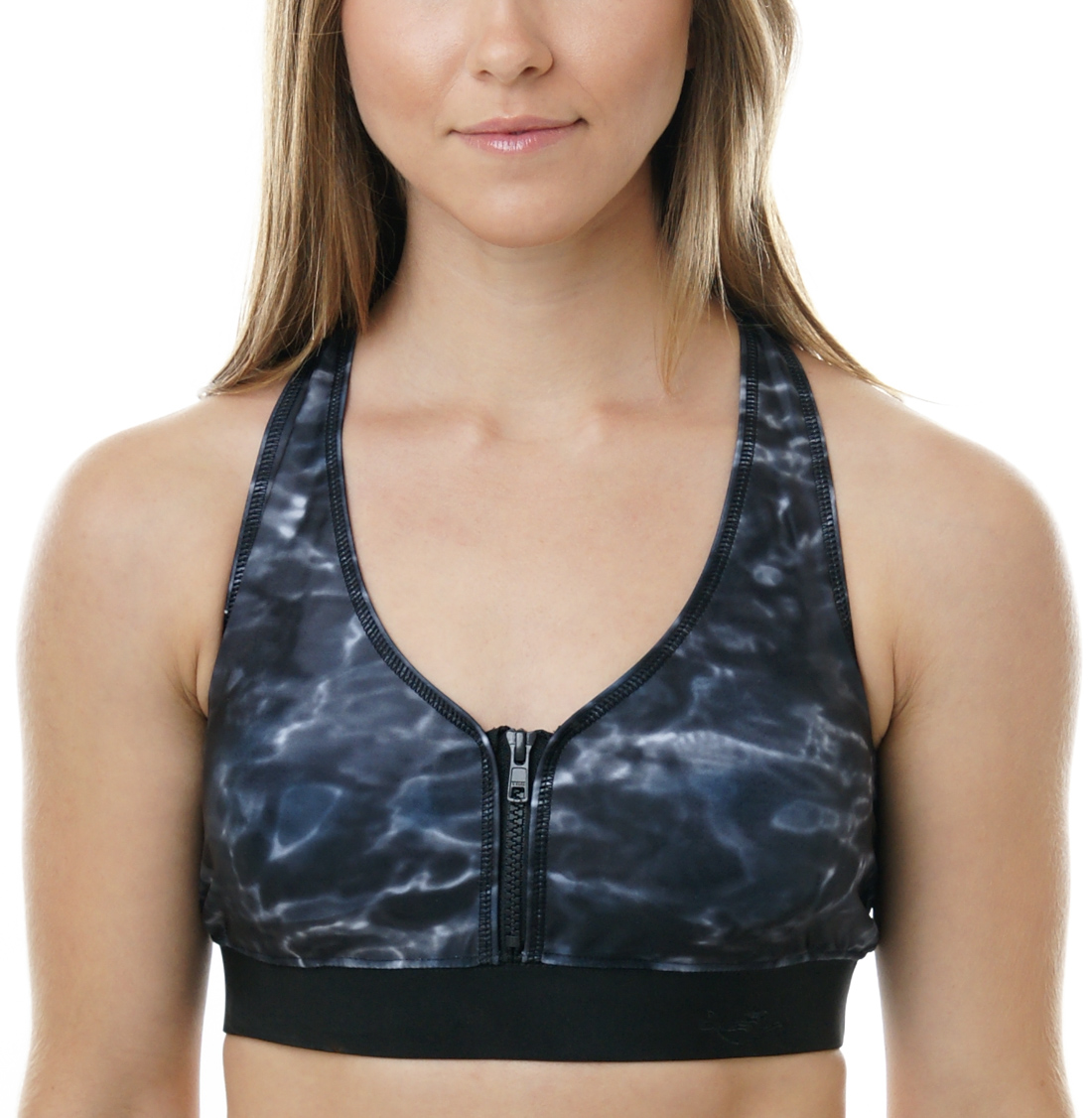 Aqua Design Womens Pullover Racerback Sports Bra with Partial Front Zip