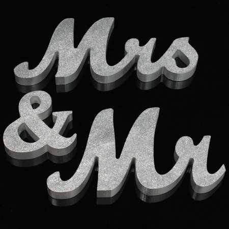 Large Wooden Mr & Mrs Silver Shining Letters Sign Wedding Table Decor Wedding Plaque Gift - Gift Table Sign