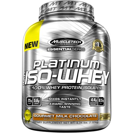 MuscleTech Essential Series Platinum 100% Iso-Whey Gourmet Milk Chocolate Dietary Supplement Powder 3.34 lbs