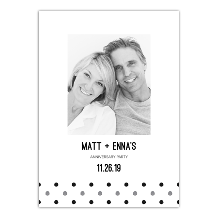 Personalized Wedding Anniversary Party Invitation - Contemporary Dots - 5 x 7 Flat - Anniversary Party Invitations