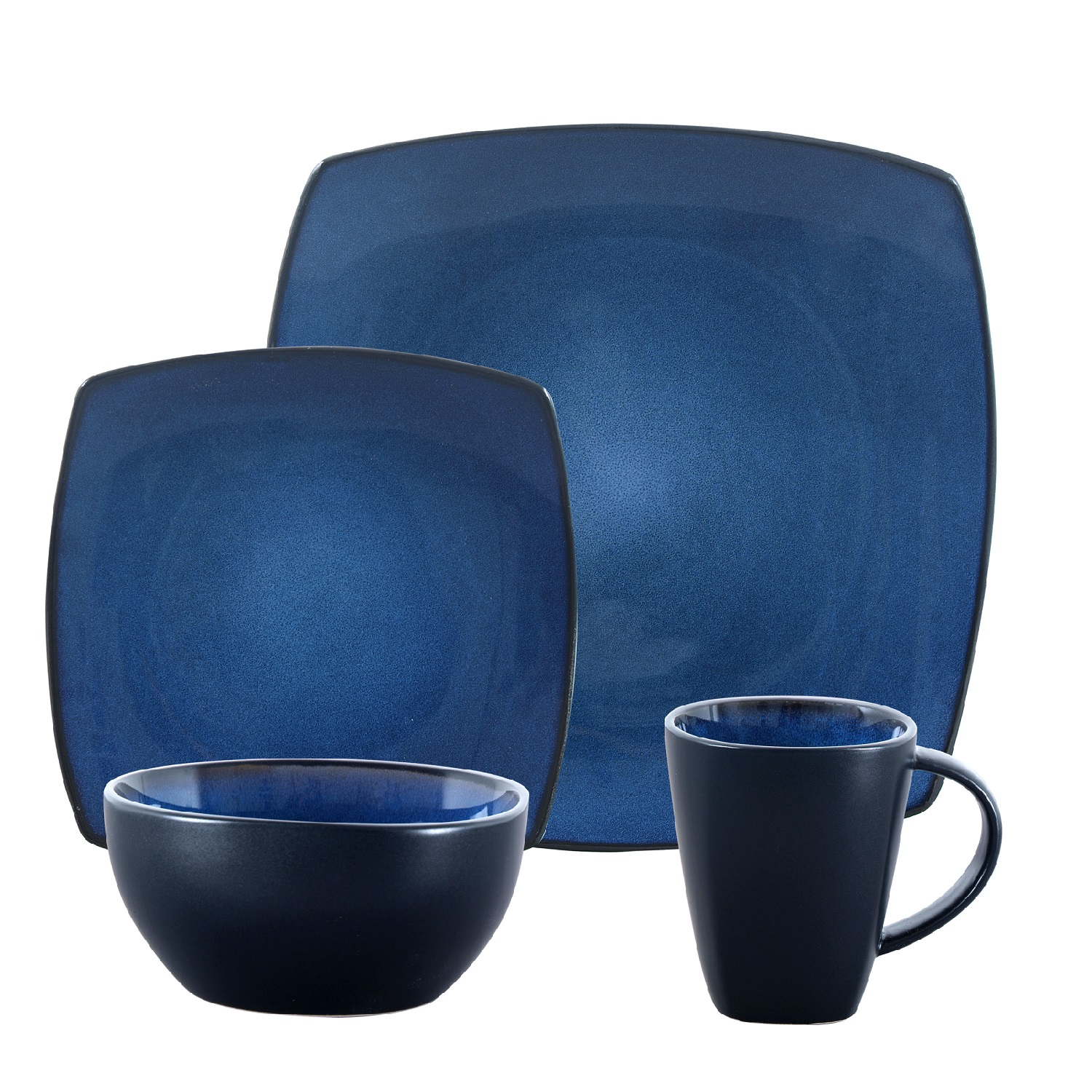 Gibson Home Soho Lounge Square Blue Dinnerware Set, 16 Piece