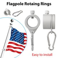 2PCS Aluminum Flagpole Rotating Rings Clip, 360 Degree Rotating Anti Wrap Flag Pole Mounting Rings Spinning Flag Pole Kit with Carabiner for 0.75-1.02 inch diameter flag poles - Tangle Free, Silver