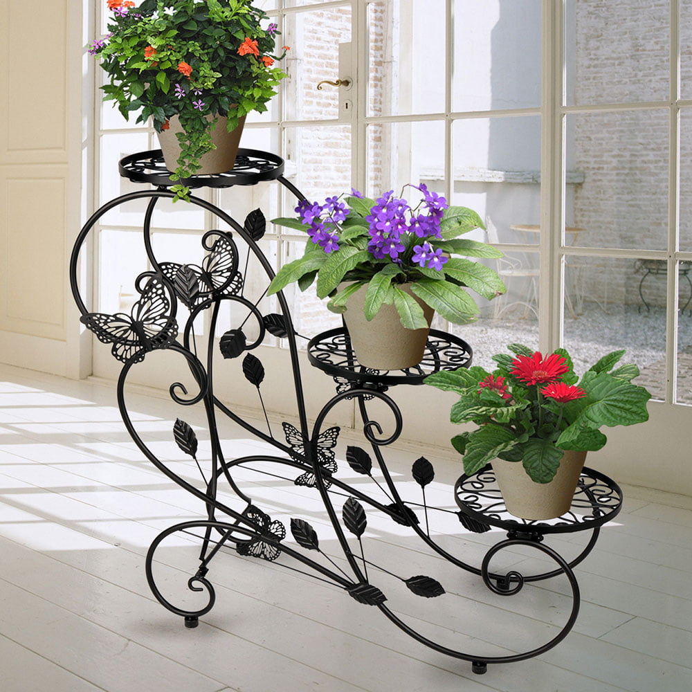 Classic Plant Stand Shelf Holds 3-flower Pot Black by HLC