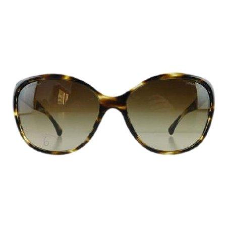 Gently Used Chanel 5309-B 1498/S5 Havana Rhinestone Plastic Sunglasses 59mm