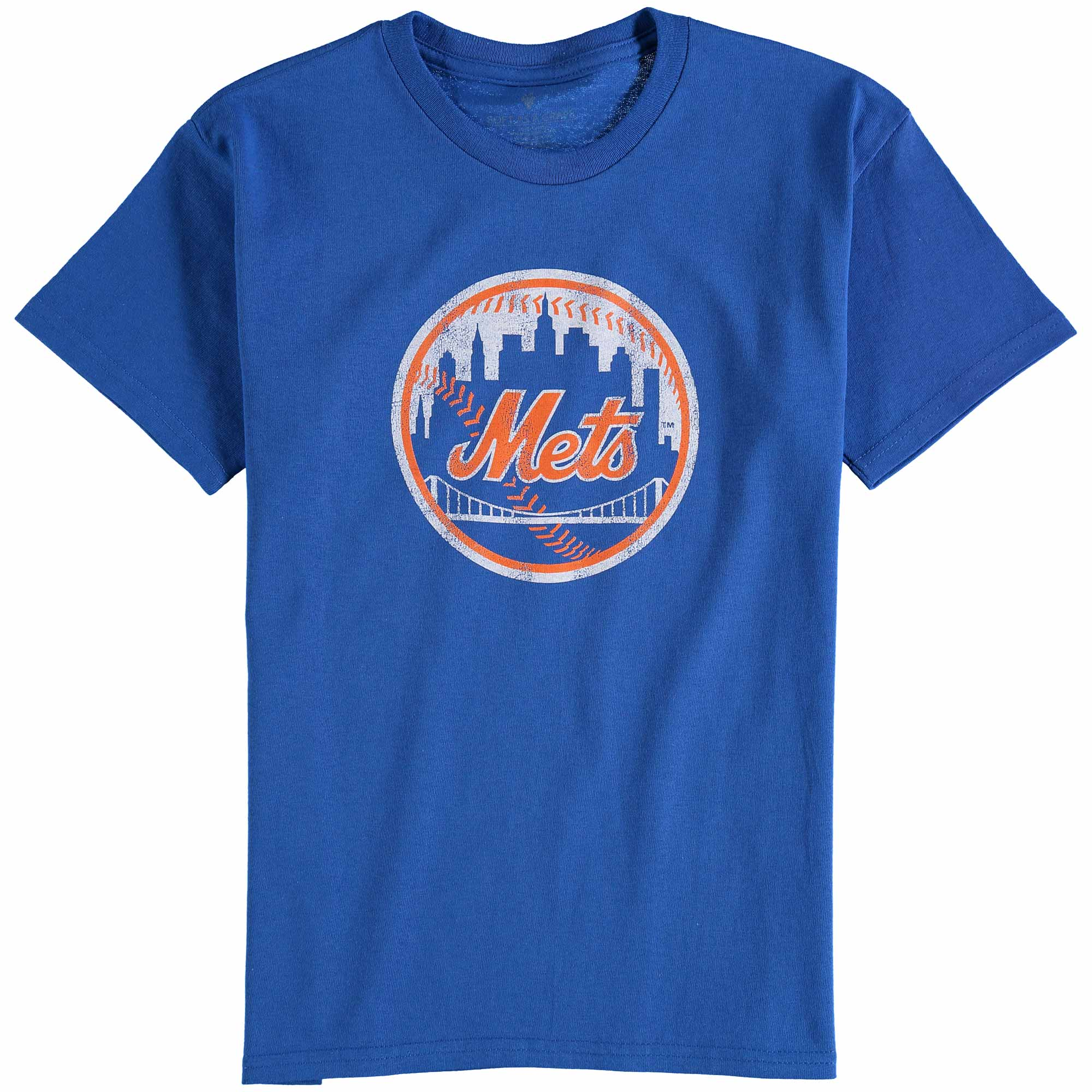 New York Mets Youth Distressed Logo T-Shirt - Royal Blue