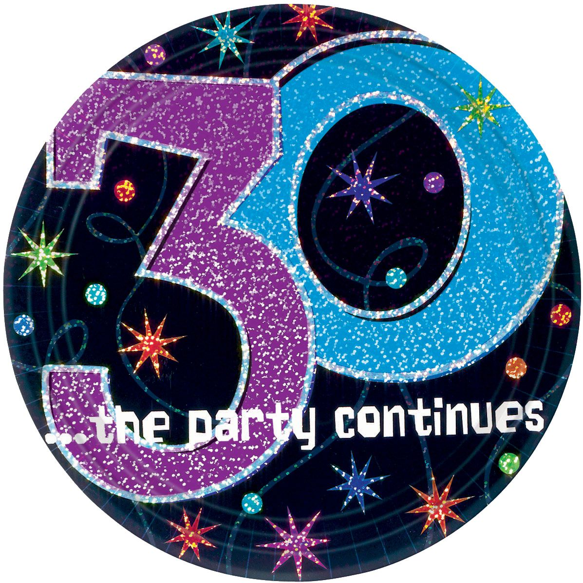"The Party Continues 30th Birthday 9"" Dinner Plates (8 Pack) - Party Supplies"